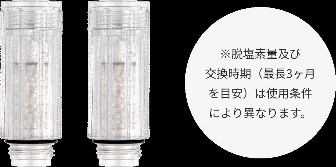 ※脱塩素量及び交換時期(最長3ヶ月を目安)は使用条件により異なります。